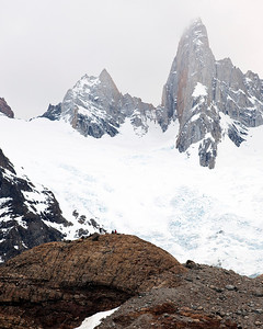Nestor waving (enlarge image to see) from last ridge at Laguna de los Tres, El Chalten, Argentina