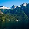 Lake Nuhuel Haupi, Argentina. <br /> Cruce Andino trip. Waterfall at lakes edge.