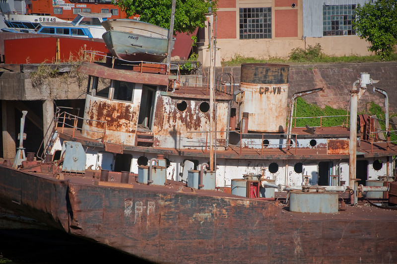 Close up of an abandoned boat in Corrientes.
