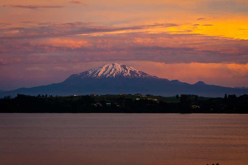 Puerto Varas, Chile. Down the street (Calle Mirador) from my hotel. <br /> View of ?, and Lake Llanquihue.