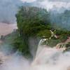 A view looking down at Iguazu Falls.
