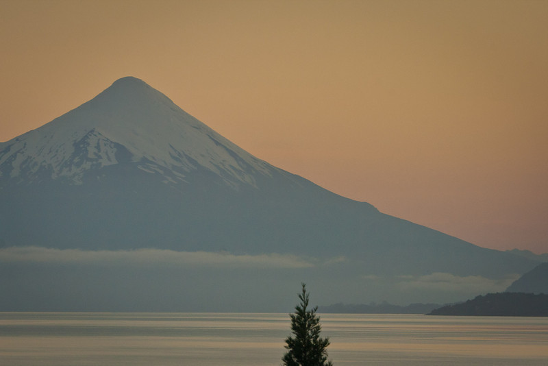 """And this, """"vista lago"""". Early morning view out my hotel room window. Lake Llanquihue and Volcan Osorno, before sunrise."""