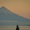 "And this, ""vista lago"". Early morning view out my hotel room window. Lake Llanquihue and Volcan Osorno, before sunrise."