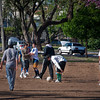 A group of kinds playing soccer in Corrientes.