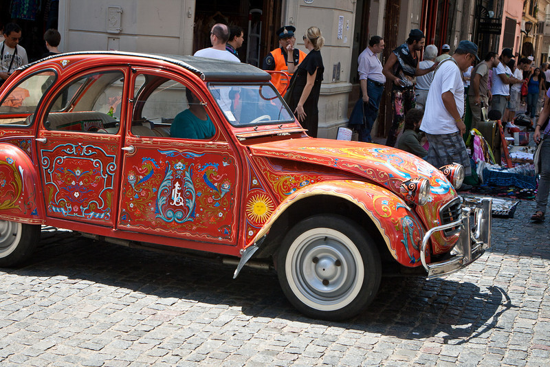 "4-door Volkswagen, roll-top,  <a href=""http://www.gringoinbuenosaires.com/fileteado-buenos-aires-artwork/""><span style=""color:#7CFC00"">fileteado</span></a> style, San Telmo, of course."