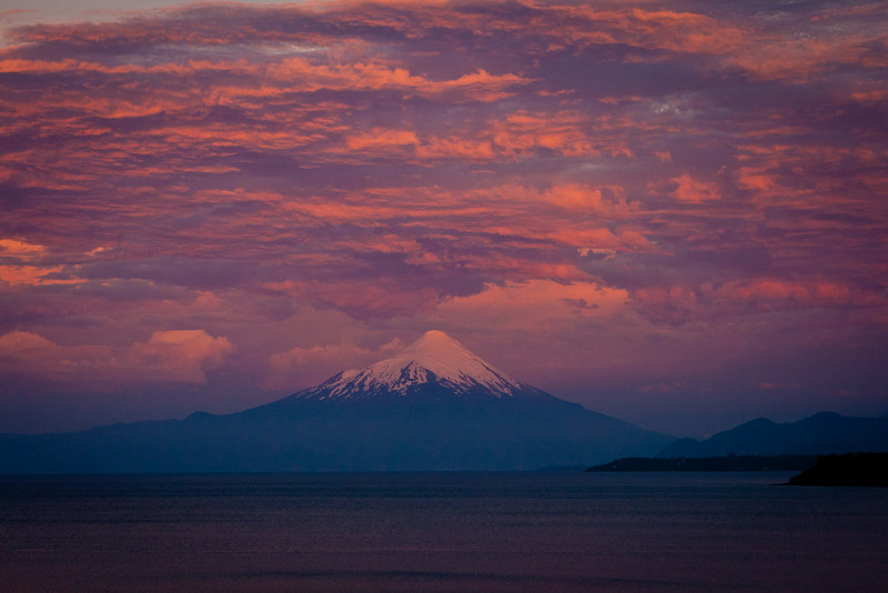 Volcan Osorno and Lago Llanquihue from Puerto Varas<br /> Chile, December 2010