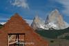 Building in El Chalten, Argentina with Cerro Chalten (Fitz Roy) in background.