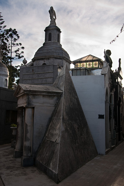 Inside the Recoleta Cemetery in Buenos Aires, which was filled with rows of masuoleums. This pyramid was one of my favorites.