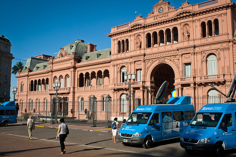 "Casa Rosada, Plaza Mayo. Argentina's ""White House"". From the lower balcony left of center Eva and Juan Peron stood before thousands."