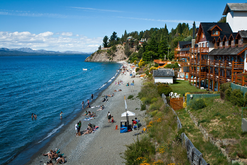 Playa Bonita, near Bariloche, Argentina. Architecture is quite Swiss-like.