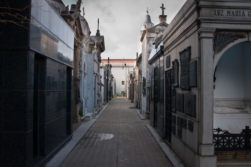 Inside the Recoleta Cemetery in Buenos Aires, which was filled with rows of masuoleums. It strangely felt like a small city.