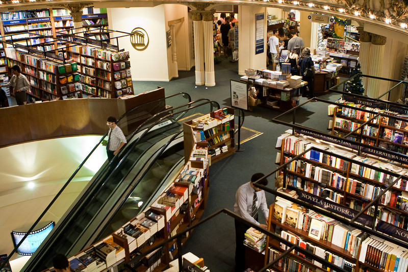 El Ateneo bookstore, from a converted theater.<br /> How many bookstores do you know of have an escalator?