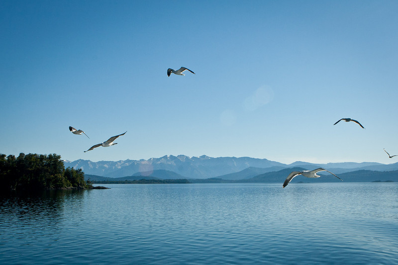 Lake Nuhuel Haupi, Argentina. <br /> Cruce Andino trip. Leaving Bariloce.