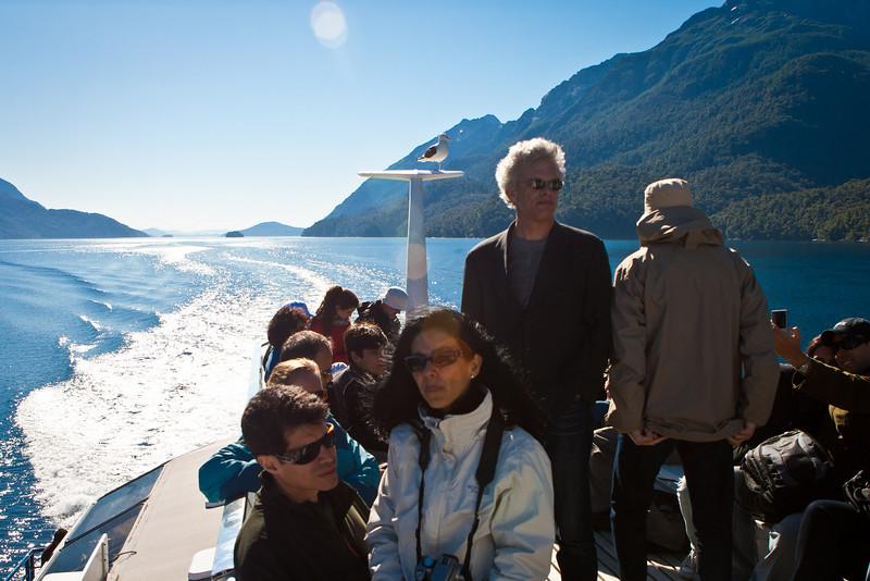 Lake Nuhuel Haupi, Argentina. <br /> Cruce Andino trip. Notice the hitchiking bird.