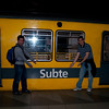 Aaron and I in front of a subway train in Buenos Aires.