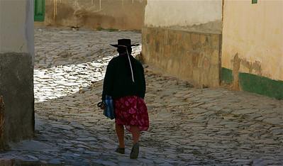 Op weg naar huis. Iruya, Quebrada de Humahuaca, Salta, Argentinië.