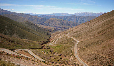 La Cuesta de Lipan, Ruta 52. Quebrada de Humahuaca, Jujuy, Argentinië.
