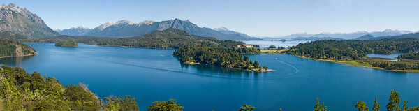 Panorama of The Nauel Huapi Lake,with Yao-Yao Hotel in center,San Carlos de Bariloche,Agentina
