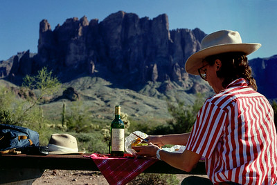 Rita; picnic in the Superstition Mountains(?) - near Phoenix, Arizona - Christmas, 1986