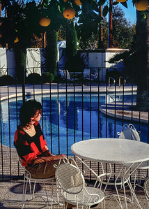Rita by Aunt Dora's swimming pool, Phoenix Arizona, 1987.