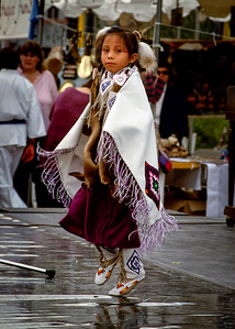 Native American child dancing - street festival - Phoenix Arizona, 1987.