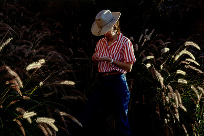 Rita in desert grasses, near Phoenix, Arizona - 1986-87
