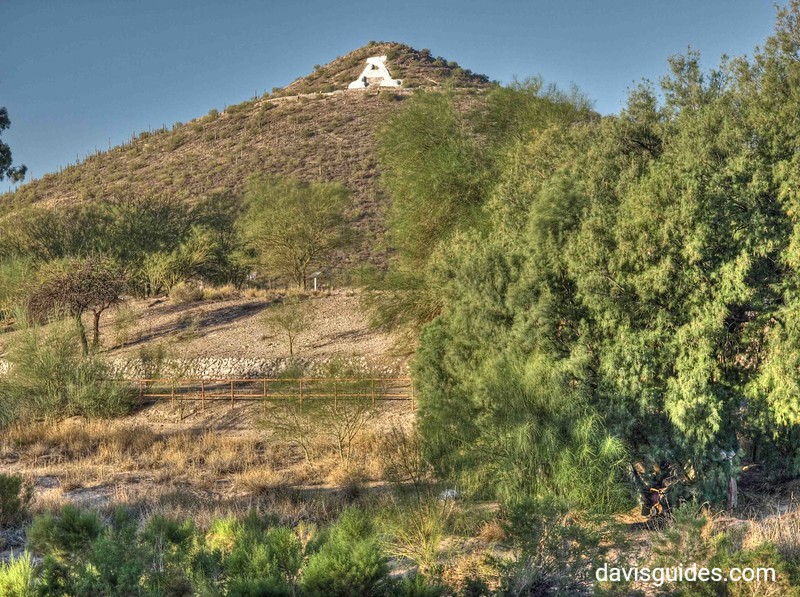 """A"" Mountain from Santa Cruz River Trail.  The ""A"" was constructed there by University of Arizona students in 1914"