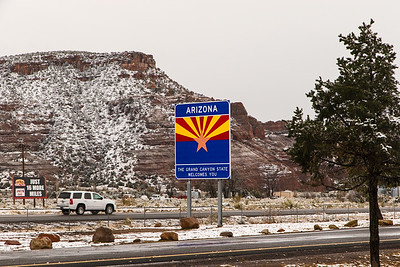 Welcome sign as we enter a cold northern New Mexico