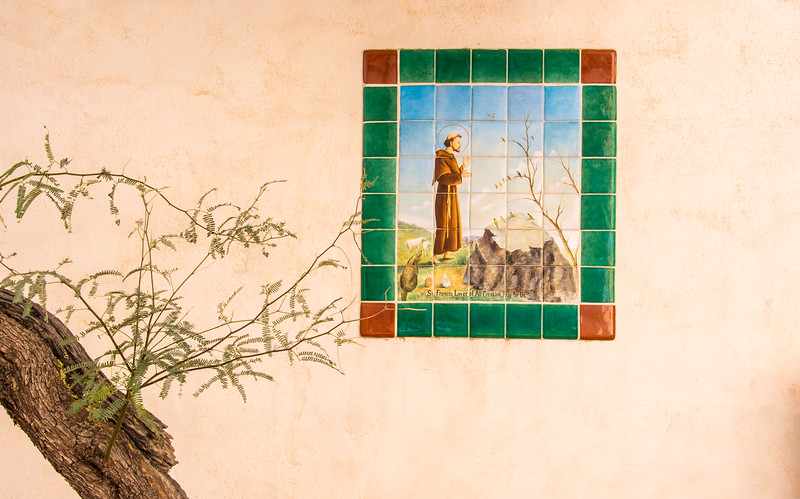 Tiled painting at Mission San Xavier del Bac, Tucson, AZ - December 2017