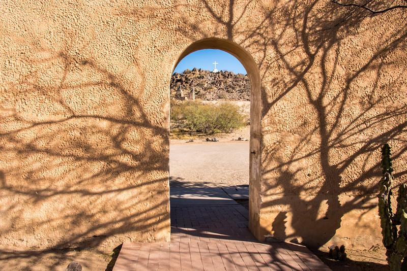 Entrance at Mission San Xavier del Bac, Tucson, AZ - December 2017