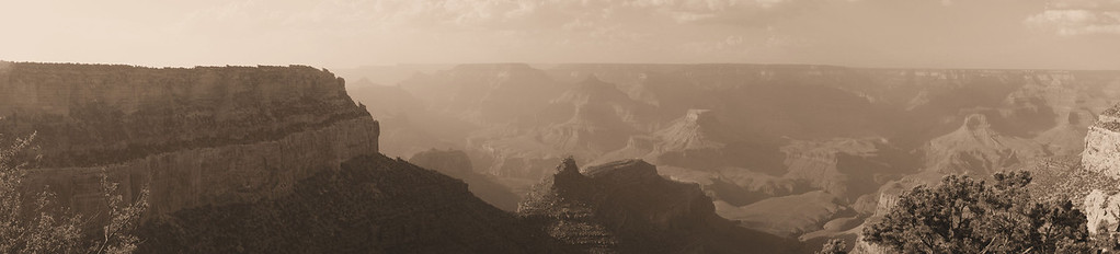 The grand Canyon from behind the El Tovar Hotel.  Trying to old school with the sepia.