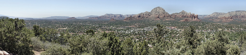 Sedona, from the Sedona Airport observation area.  Shot with a Sony NEX-5, which is a great camera for panoramic shots.