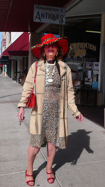 While walking down the street in Prescott we saw Harriet walking towards us and stopped to talk to her.  She was happy to pose for pictures and said she lived about 45 minutes from town and liked to dress up and come to town.  She was a delightful person to talk to and I wished we had more time.