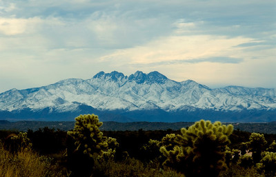The jagged skyline of Four Peaks in the Mazatzal Mountains, east of Fountain Hills, with a dusting of snow  Arizona, Southwest United States