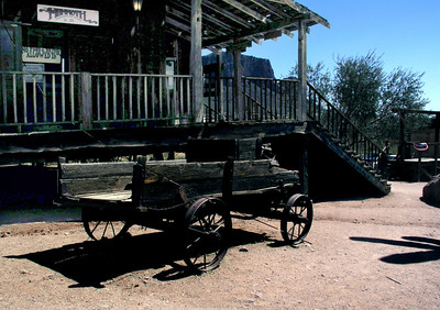 Old buggy and Country Store at Lost Dutchman's Gold Mining Town  Phoenix area, Arizona