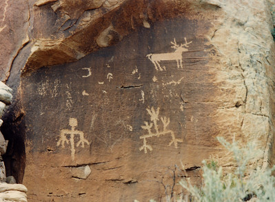 Zuni Rock Art, Zuni Petroglyphs and Zuni Pictographs  These pictographs are on a sandstone overhang near an ancient site known as Village of the Great Kivas on the Zuni Pueblo.