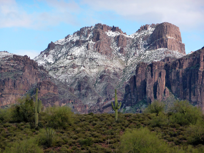 A late dusting of snow on the Superstitions on 3/18/2012.