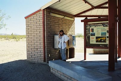 11/11/99 Arleen chatting with Marina. Rest stop on I-40 west of Havesu, Arizona's border with California.