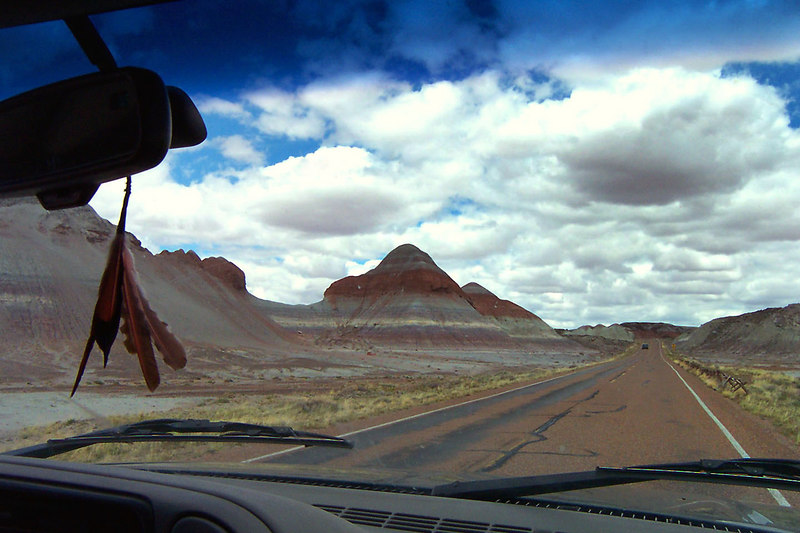 Driving past The Tepees on our way out of the park. Our next stop will be at Canyon de Chelly to check out the Navajo, Hopi and Anasazi ruins. (photo by Helen)