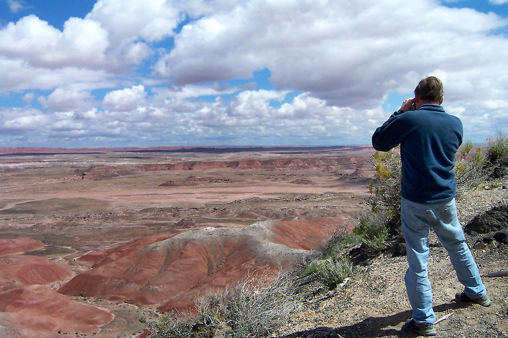 Joe (me) getting a shot of part of the Painted Desert from Tiponi Point. (photo by Helen)
