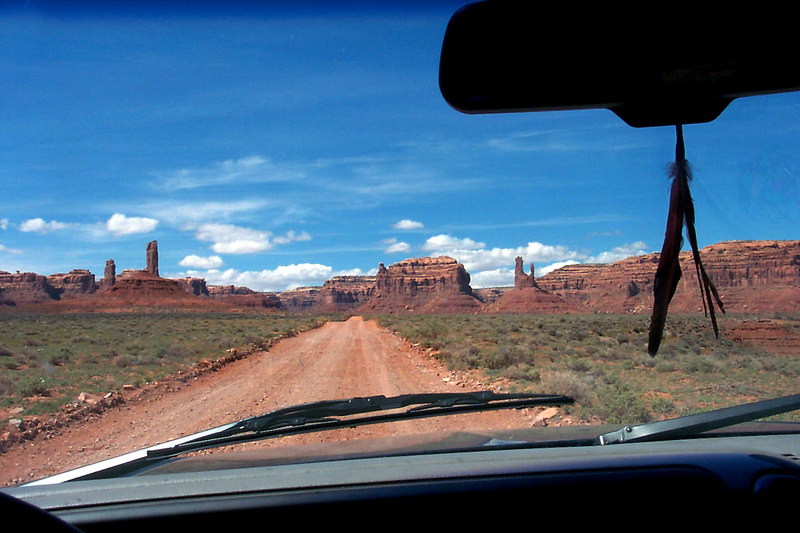 Driving into the Valley Of The Gods.