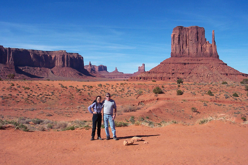 Helen and I in Monument Valley. The formation on the right is called Left Mitten.