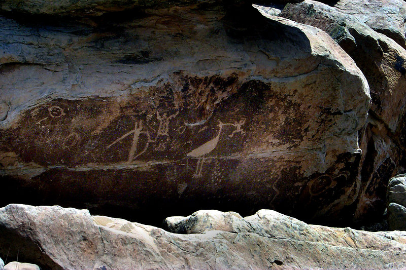 The big bird eating the little guy petroglyph. This petroglyph was at the Puerco Pueblo Ruins.
