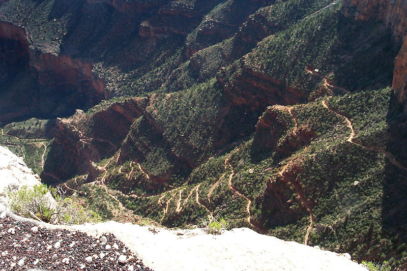 Looking down at the switchbacks on the Bright Angel Trail.