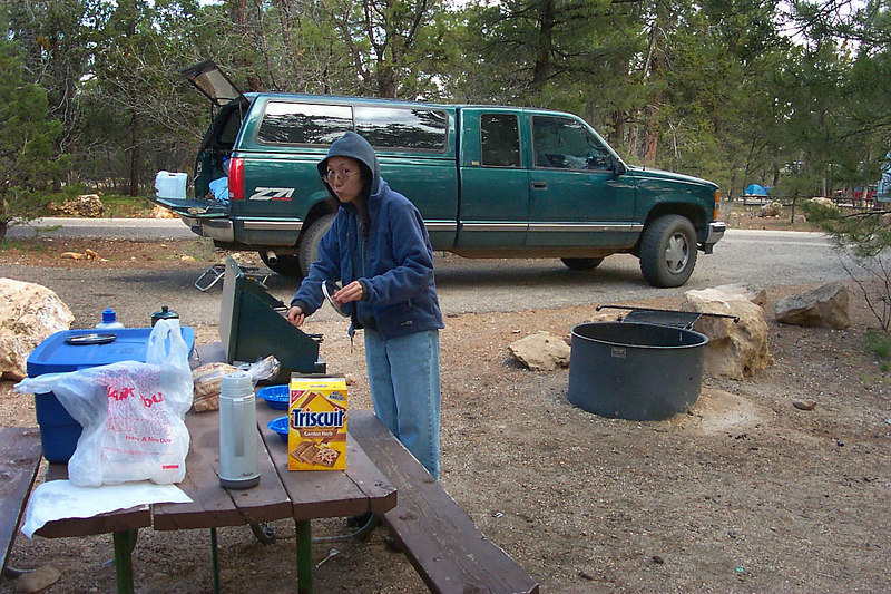 Day #4 at Mather Campground, the Grand Canyon. Helen is working on breskfast.