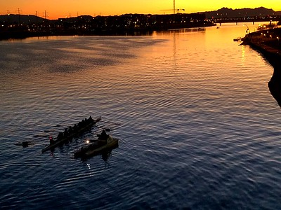 Early morning rowers on Salt River, Arizona