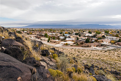 Looking down to Rio Grande Valley and city of Albuquerque