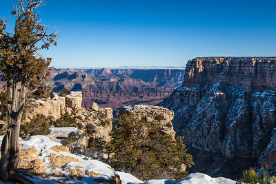 Snow lies at the top of the Grand Canyon from the South Rim. USA trip 2013.