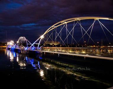 Tempe bridge liquid gold reflection dark sky 0565