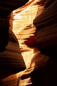 Bands of colored rock on the walls of Antelope Canyon